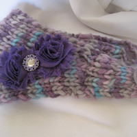 Ear Warmer Headband Headwrap Hand Knit In Multi Colored Purple with Two Purple Shabby Frayed Flowers and a Lavender Rhinestone Accent