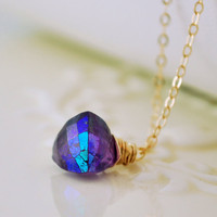 Mystic Amethyst Gemstone Pendant Necklace