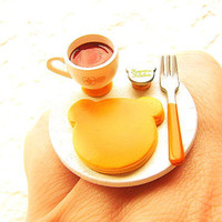 Pancake Food Ring Tea Kawaii Cute Ring by SouZouCreations on Etsy