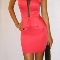 Coral &amp; Mesh Peplum dress