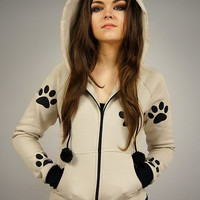 Cat hoodie Ears kitty tracks kawaii beige
