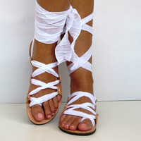"Leather Sandals, handmade, Unique design with plisse scarf straps in white  ""APHRODITE"" AS10 All sizes Available"