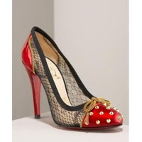 Christian Louboutin Candy Lace & Patent Spike Pump [2011052032] - $238.00 : shoesoutletus.com, shoesoutletus.com