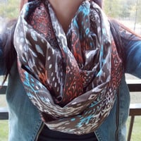 Vintage look ikat infinity scarf