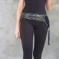 Lotusesque Leather Stone Belt Bag in Black leather by JungleTribe