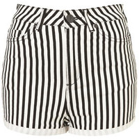 MOTO Washed Stripe Hotpants - Shorts  - Apparel
