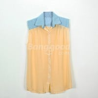 New Women's Casual Blouse Chiffon Spliced Sleeveless T-shirt Free Shipping!  - US$16.99