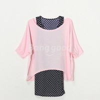 New Women's Long Dots Vest And Off Shoulder Loose Blouse Twinset Free Shipping!  - US$9.99