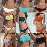 COOL NEW HOT SEXY WOMEN SWIMWEAR DOLLY FRINGE BANDEAU BIKINI PADDED TUBE TOP D53