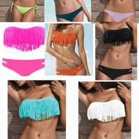 Hot Sexy Women's Padded boho fringe dolly bikini Swimwear bathing suit #8 Color
