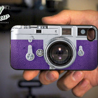 Vintage Camera Purple iPhone 4 4s Hard Case - Retro Camera - Phone Cover IP4