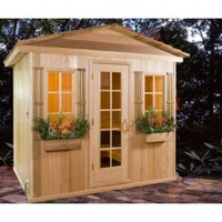 Baltic Leisure 6' x 8' x 7' Outdoor Prebuilt Sauna with Shake Roof - Saunas - Bathroom Fixtures - Bed & Bath