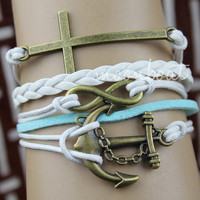 Anchor bracelet,Infinity bracelet, cross bracelet,  God's blessing bracelet, braid leather bracelet