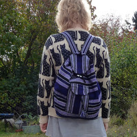 90s VIOLET SUNSET Woven Drawstring Backpack Bag
