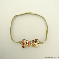 Chartreuse/Gold Sequin bow headband  inspired by Ban.do headband as seen on Taylor Swift one size fits all