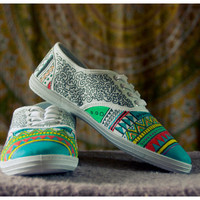 Hand painted shoes, aztec plimsolls, colorful shoes for women READY TO SHIP