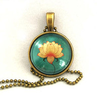 10% SALE - Necklace Zen Lotus, Art Pendant, Lotus Charm,Water Lily Gift