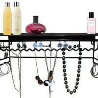 Amazon.com: Supreme Classic Black Metal Wall Mount Jewelry Organizer Shelf Earrings Holder Bracelets Necklace Handbag Hanger: Home & Kitchen