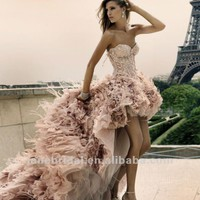 2012 HOT zuhair murad front short and long back wedding dresses-in Wedding Dresses from Apparel & Accessories on Aliexpress.com