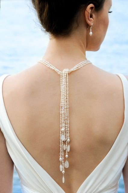 Moonstone and Pearl Bridal Lariat by NicoleWinkler on Etsy