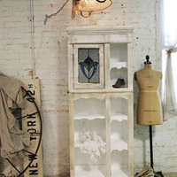 Pained Cottage Chic Shabby Handmade Farmhouse Cabinet CC362