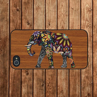 iphone 4 case,iphone 4s case,iphone 4 cover--Floral Elephant on Wood,in plastic or silicone case