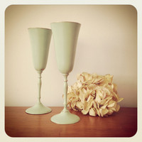 Pair of candlestick holders sea foam green shabby chic - Brass Champagne Flute