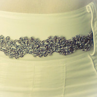 Metallic Silver grey lace crochet belt, bridal sash belt floral motif
