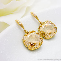 Wedding Bridesmaid Earrings Bridal Jewelry Champagne Gold Earrings Golden Shadow Swarovski Crystal Square Drops &amp; Cz Ear Wires