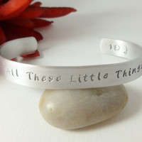 One Direction, All these little things, Hand stamped cuff bracelet, jewelry, accessories