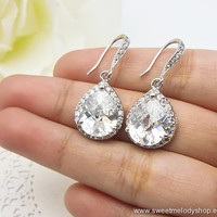 Bridesmaid Wedding Earrings Bridal Jewelry Clear White LUXE Cubic Zirconia Tear Drops with Cz Ear Wires