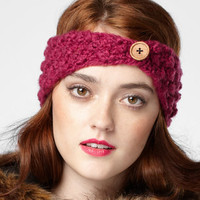 Knit Headband With Button
