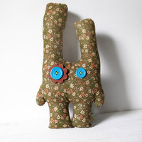 Green bunny - floral cute stuffed animal