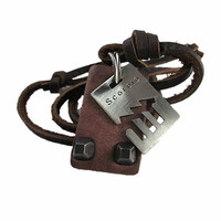 Scorpio Brown Real Leather and alloy pendant adjustable necklace mens necklace  unisex necklace cool necklace B145