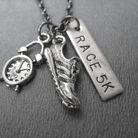 Time to RACE 5K - Running Jewelry - Cross Country Running Necklace on 18 inch gunmetal chain - Road Race Gift
