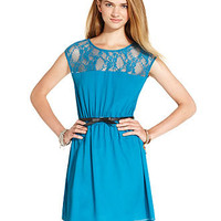 BeBop Juniors Dress, Cap Sleeve Belted Lace - Juniors Dresses - Macy's