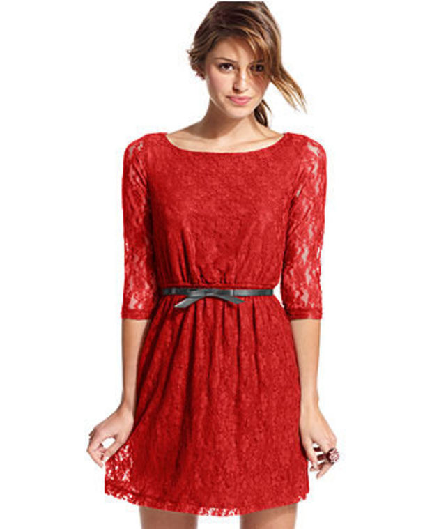 a9de0d13551b Dress, Three-Quarter Sleeve Belted Lace - Juniors Dresses - Macy's