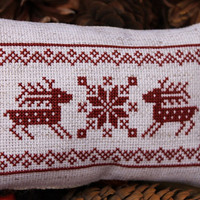 Completed Cross Stitch Primitive Pinkeep Red Reindeer Christmas Holidays Home Decor