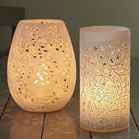 White Powder Stone Candle Lanterns - 	    	Lanterns  Hurricane Lamps -    	    	Candlelight  Tealight Holders -    	    	   	Primrose  Plum -         white lantern, white hurricane lamp, eastern style lantern