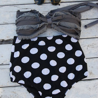 High waist bikini gray top with white polka dot on black bottoms for sale
