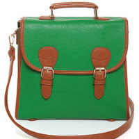 Art in the Park Green Satchel