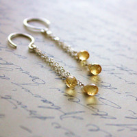 AA Citrine Teardrop Earrings - November Birthstone - Tassel Earrings