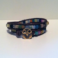 Lucky Owl Leather Wrap Bracelet, Mu.. on Luulla