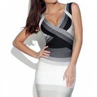 Grey and Pink Gradient V-Neck Bandage Dress