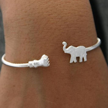 Sterling Silver Bangle Bracelet Elephant and Fist by ulovejewelry