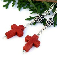 Handmade Cross Earrings Magnesite Red Sterling OOAK Jewelry Beaded