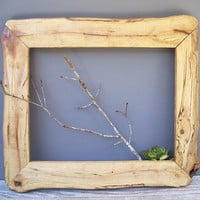 rustic wood picture frame hand made lodge by KatyBitsandPieces