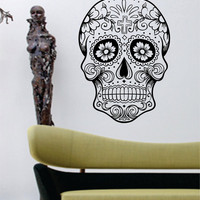 Sugar Skull  Version 5 Wall Vinyl Decal Sticker Art Graphic Sticker Sugarskull