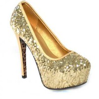 Gold Sequin Platform Heels with Leopard Print Sole