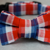 Dog Collar with Bowtie - Patriotic Seersucker
